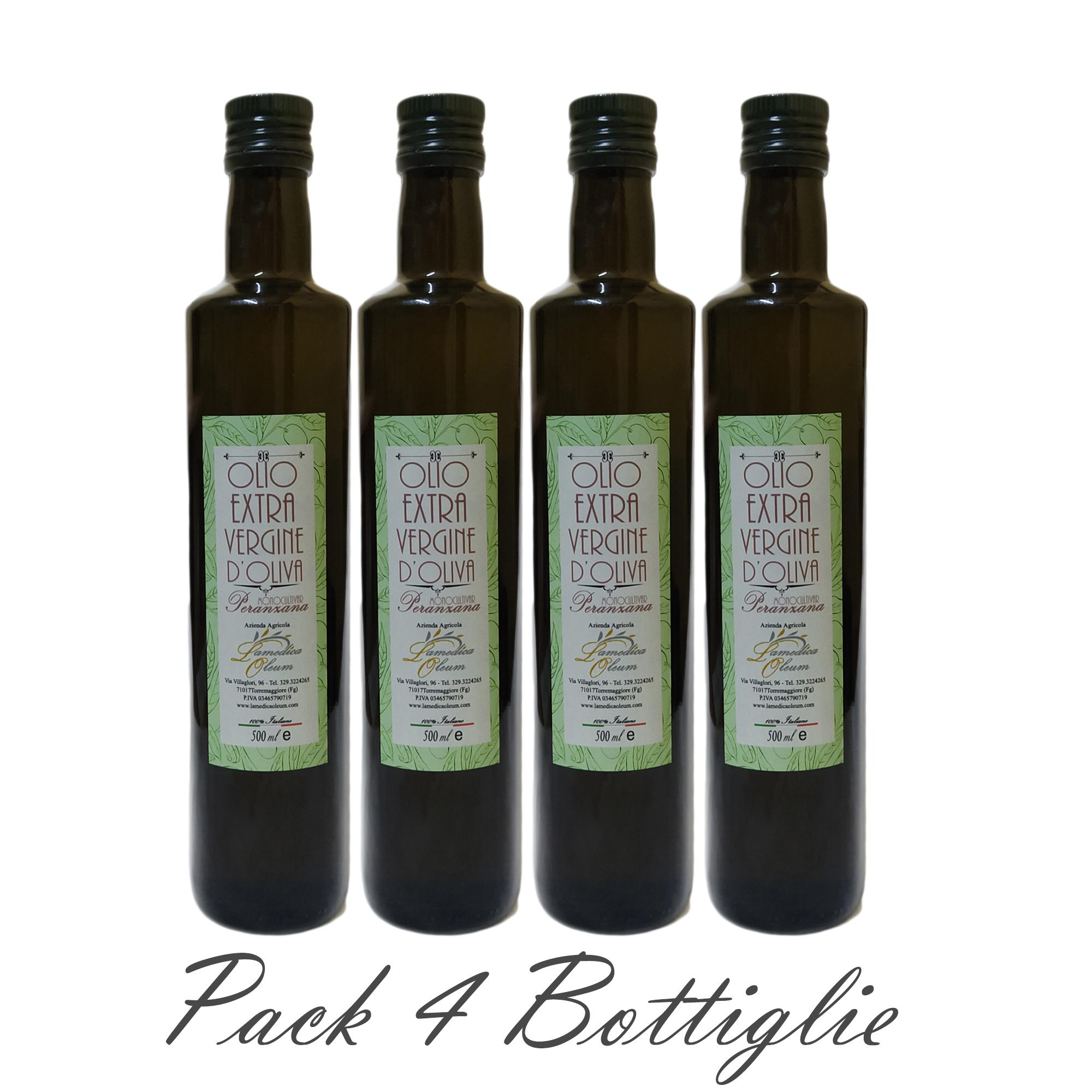 Pack 4 Bottiglie 500ml Olio Extravergine D'Oliva Monocultivar Peranzana