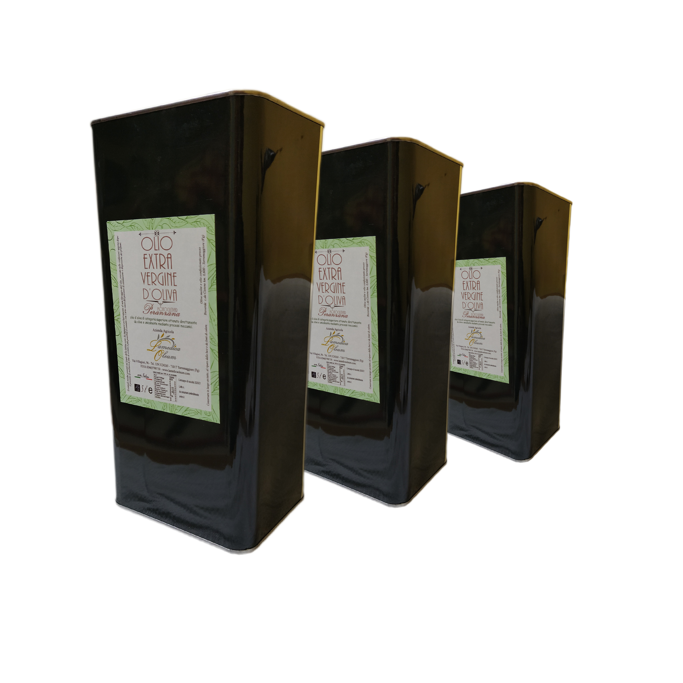 PACK 3 LATTINE 5l Olio EVO Monocultivar Peranzana