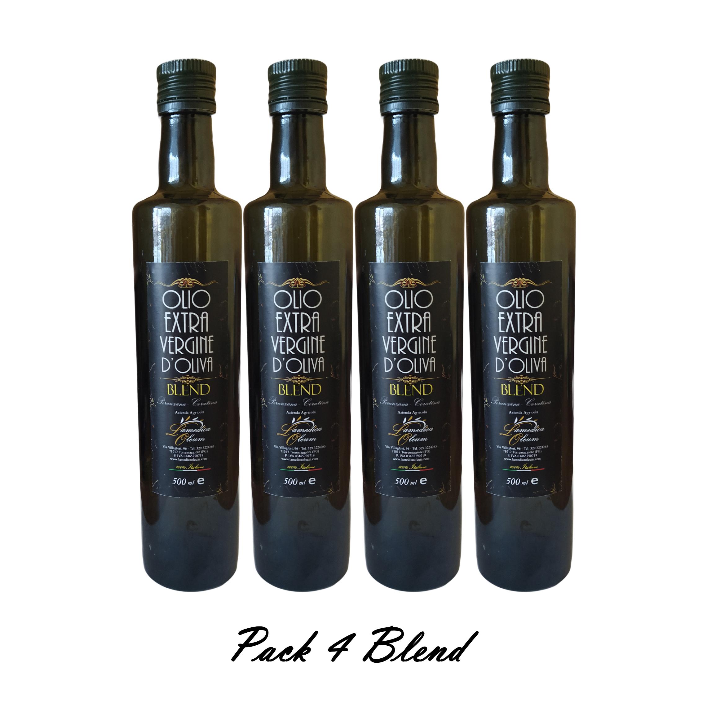 Pack 4 Bottiglie 500ml Olio Extravergine D'Oliva Blend